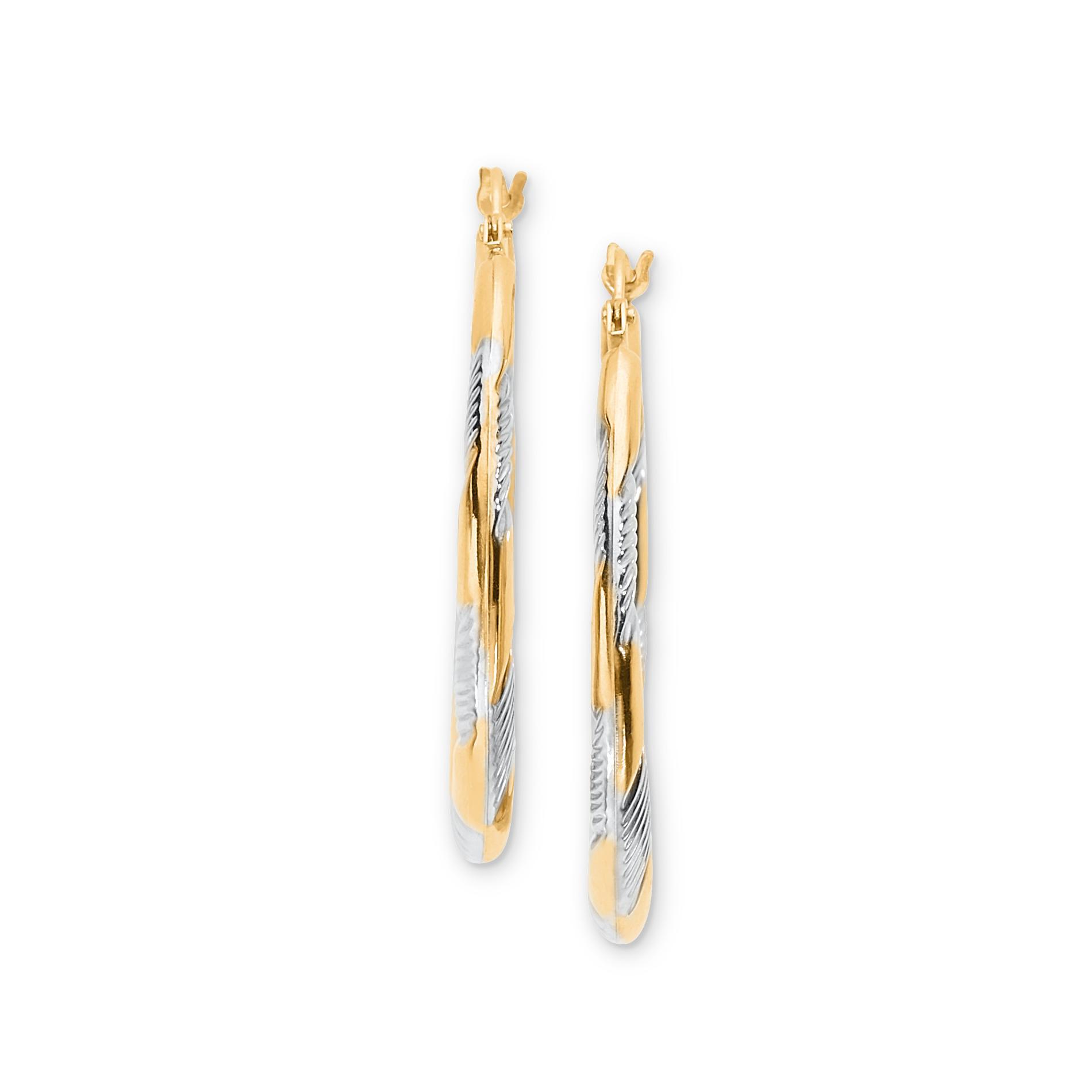 10K Gold Two-Tone Textured Swirl Hoop Earrings