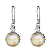 Ladies Sterling Silver 24K Gold Leaf White Glass and Crystal Quartz Doublet Earrings at Sears.com