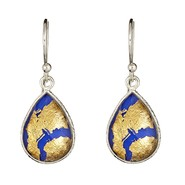 Ladies Sterling Silver 24K Gold Leaf Lapis Glass and Crystal Quartz Doublet Earrings at Sears.com