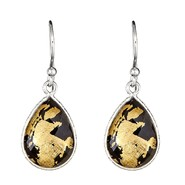 Ladies Sterling Silver 24K Gold Leaf Black Agate and Crystal Quartz Doublet Earrings at Sears.com