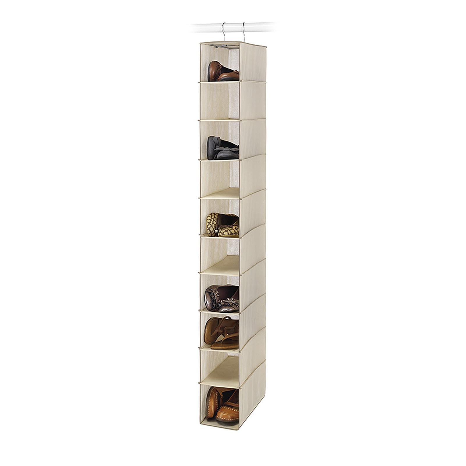 Essential Home 10-Shelf Tan Hanging Closet Shoe Organizer