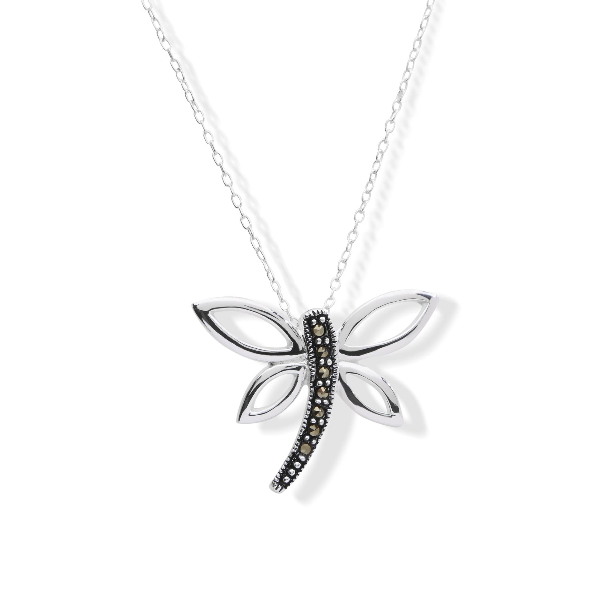 Sterling Marcasite Sterling Silver Dragonfly Pendant Necklace