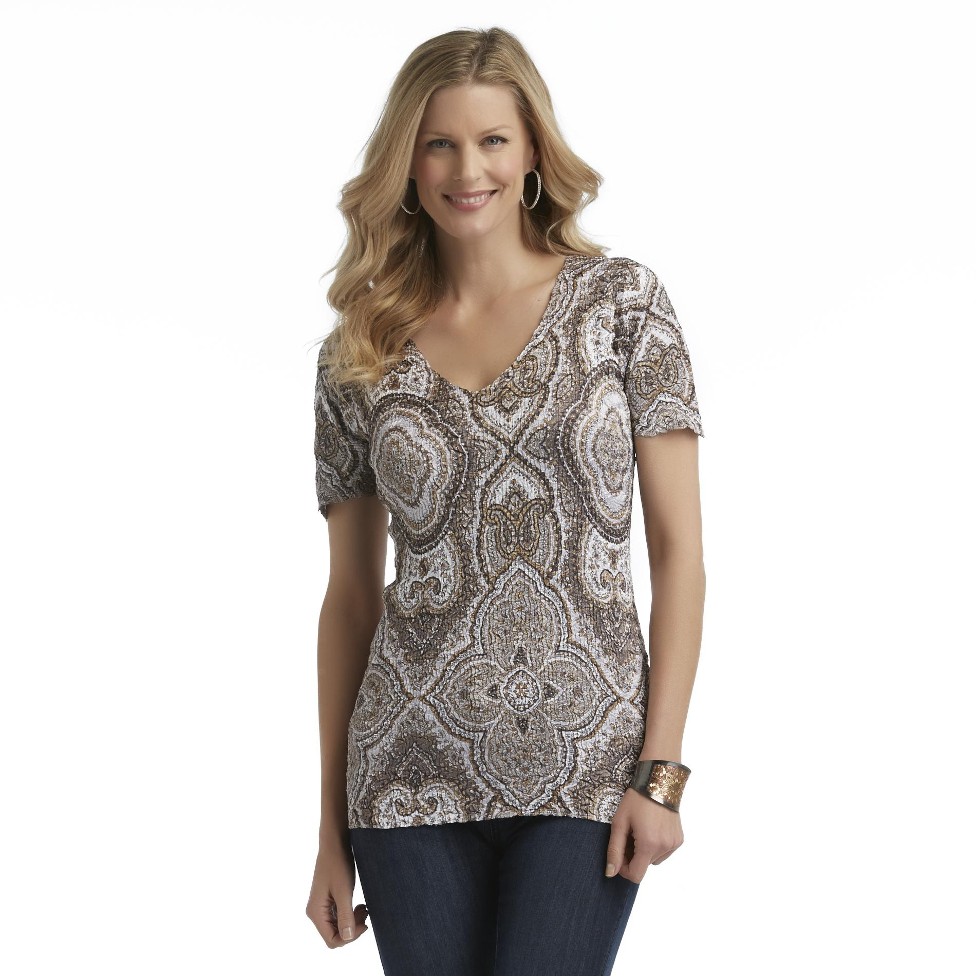 Jaclyn Smith Women's Satin Puckered Shirt - Paisley at Kmart.com