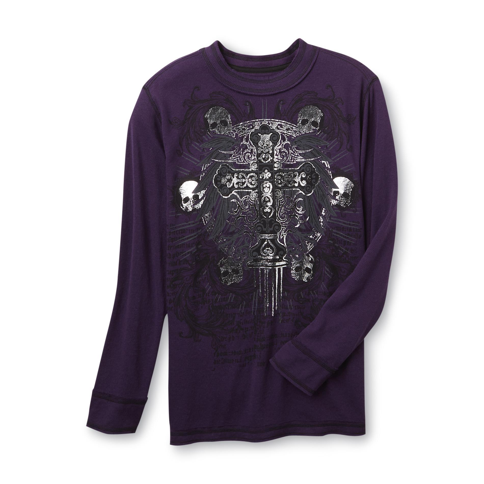 SK2 Boy's Thermal Graphic T-Shirt - Gothic Skull