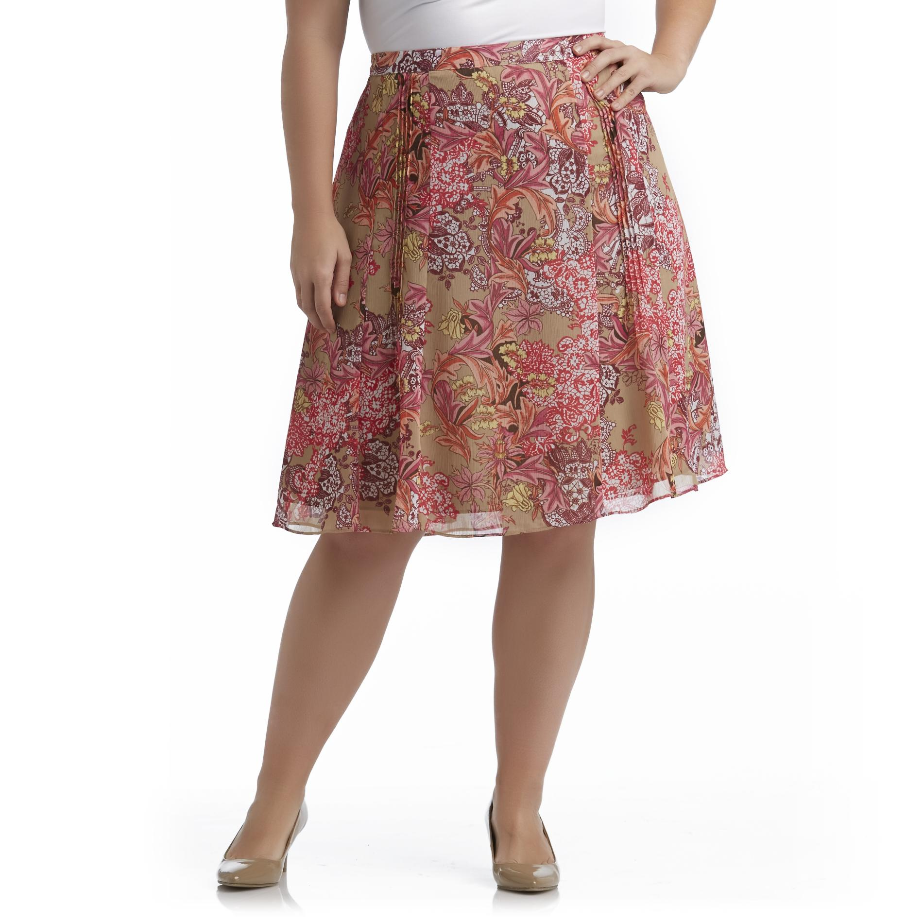 Jaclyn Smith Women's Plus A-Line Skirt - Floral at Kmart.com