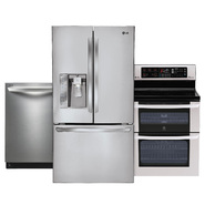 LG 3 Piece package w/ 31 cu. ft. French-door Refrigerator and Double Oven Electric Convection Range at Sears.com