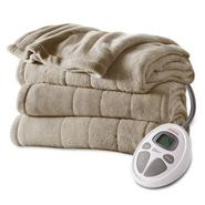 Sunbeam Channeled Microplush Heated Blanket at Kmart.com