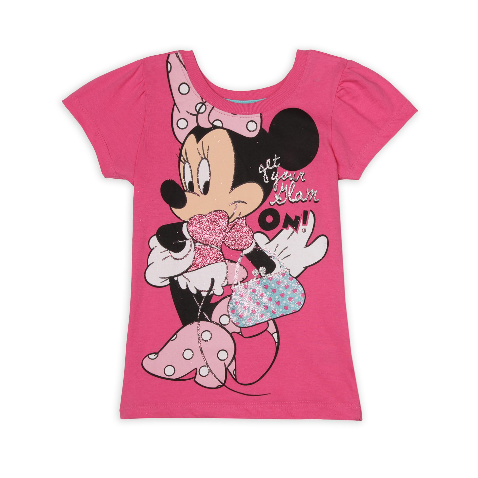 Disney Minnie Mouse Girl's Graphic T-Shirt - Glam