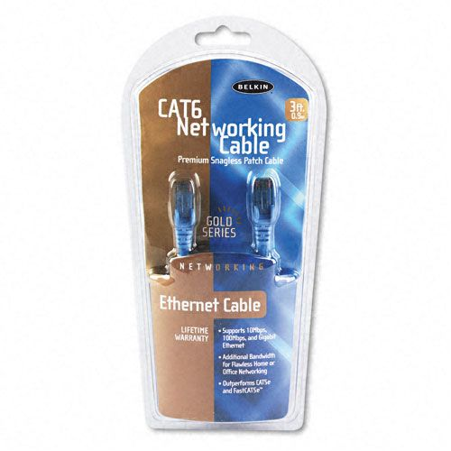 High Performance Cat6 UTP Patch Cable, 3ft, Blue