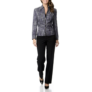 Signature by Larry Levine Women's BOUCLE Zip Front Pant Suit - Online Exclusive at Sears.com
