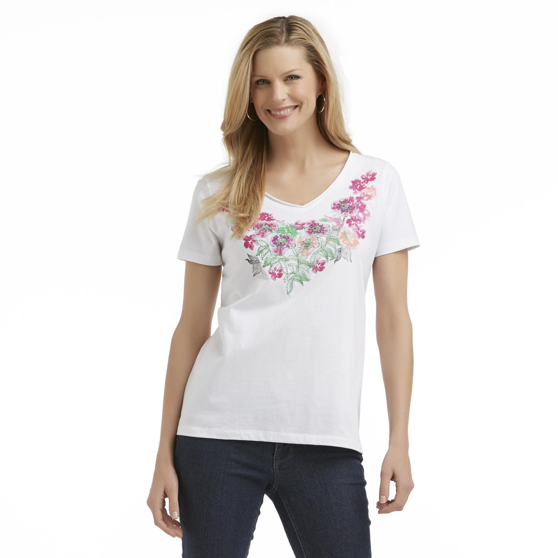 Laura Scott Women's V-Neck T-Shirt - Floral at Sears.com