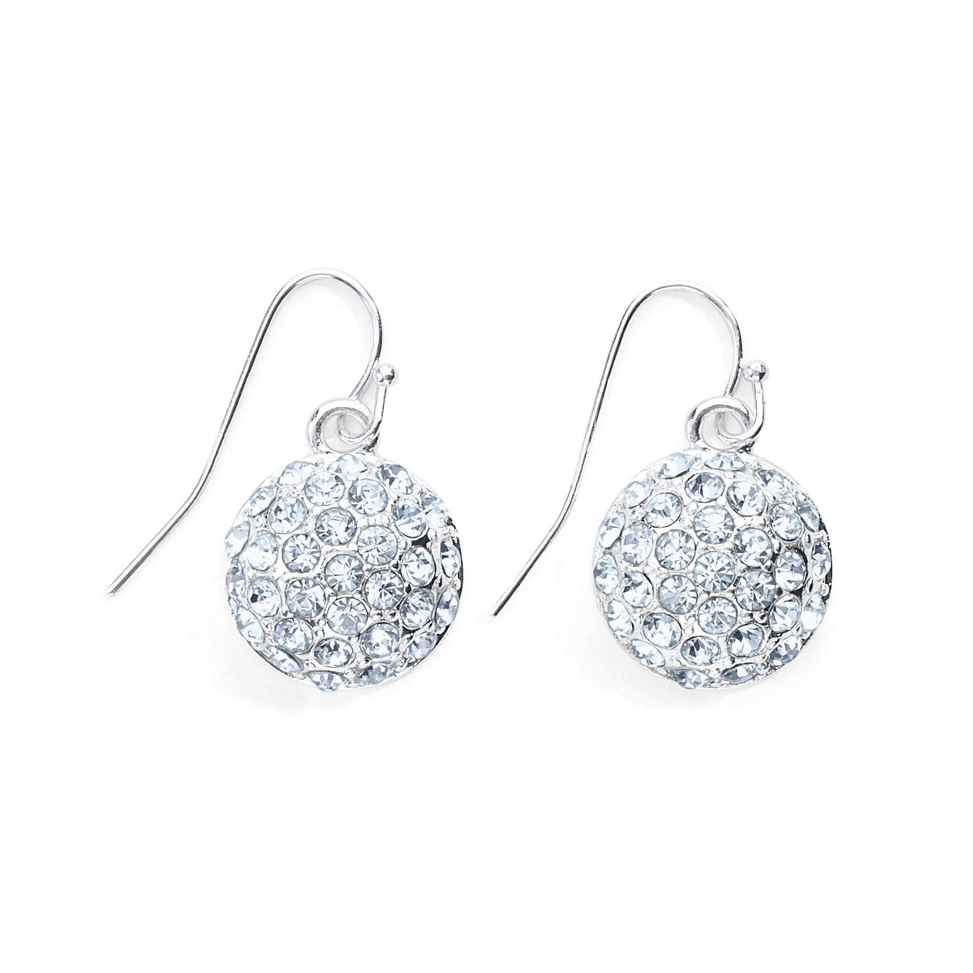 Women's Rhinestone Drop Earrings - Silvertone