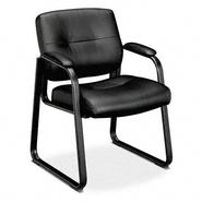 Basyx VL690 Series Guest Leather Chair, Black Leather at Kmart.com