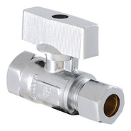 """LDR Industries 3/8"""" Compression X 3/8"""" F.I.P. Chrome Plated Quarter Turn Shut Off Straight Valve Low Lead at Sears.com"""