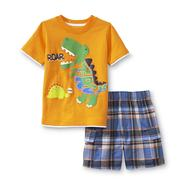 Kids Headquarters Newborn Boy's Graphic T-Shirt & Plaid Shorts - Dinosaur at Sears.com