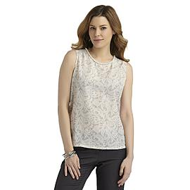 Covington Women's Sleeveless Beaded Neckline Blouse - Paisley at Sears.com
