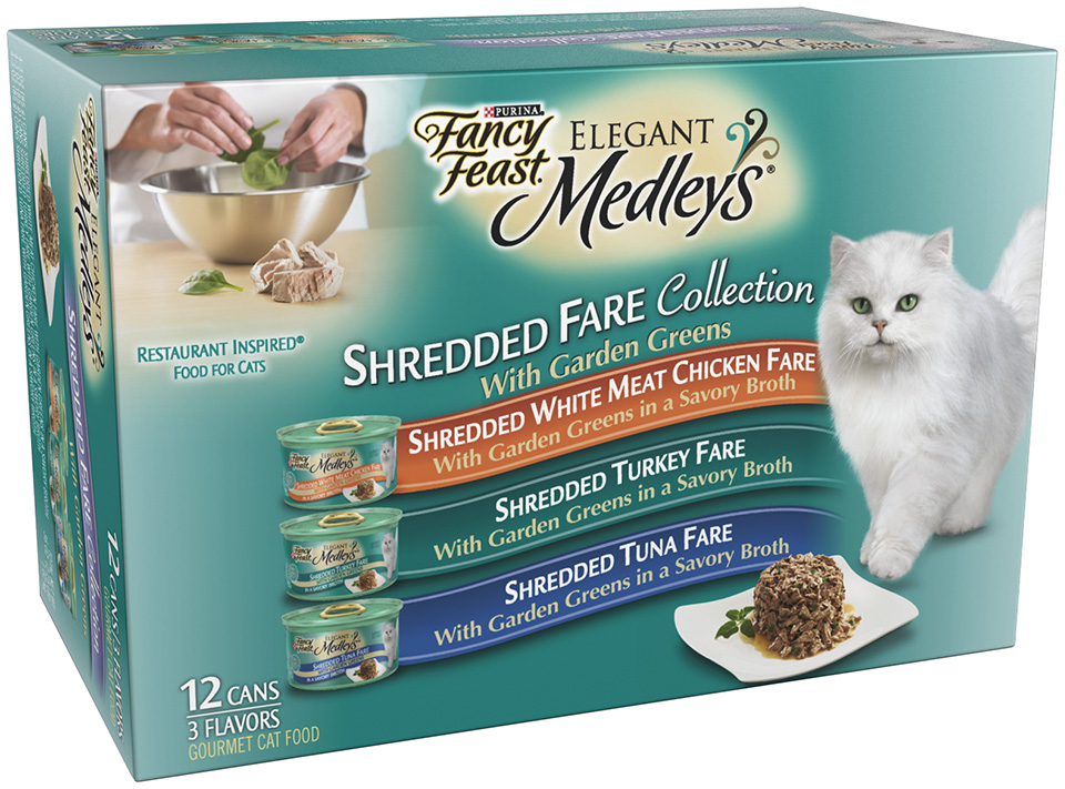 Fancy Feast Elegant Medleys Shredded Fare Collection with Garden Greens 12-3 oz. Cans PartNumber: 029W893260110001P KsnValue: 029W893260110001 MfgPartNumber: 57280