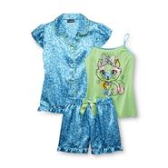 Joe Boxer Girl's Pajama Shirt, Tank Top & Shorts - Hearts & Kitty Cat at Kmart.com