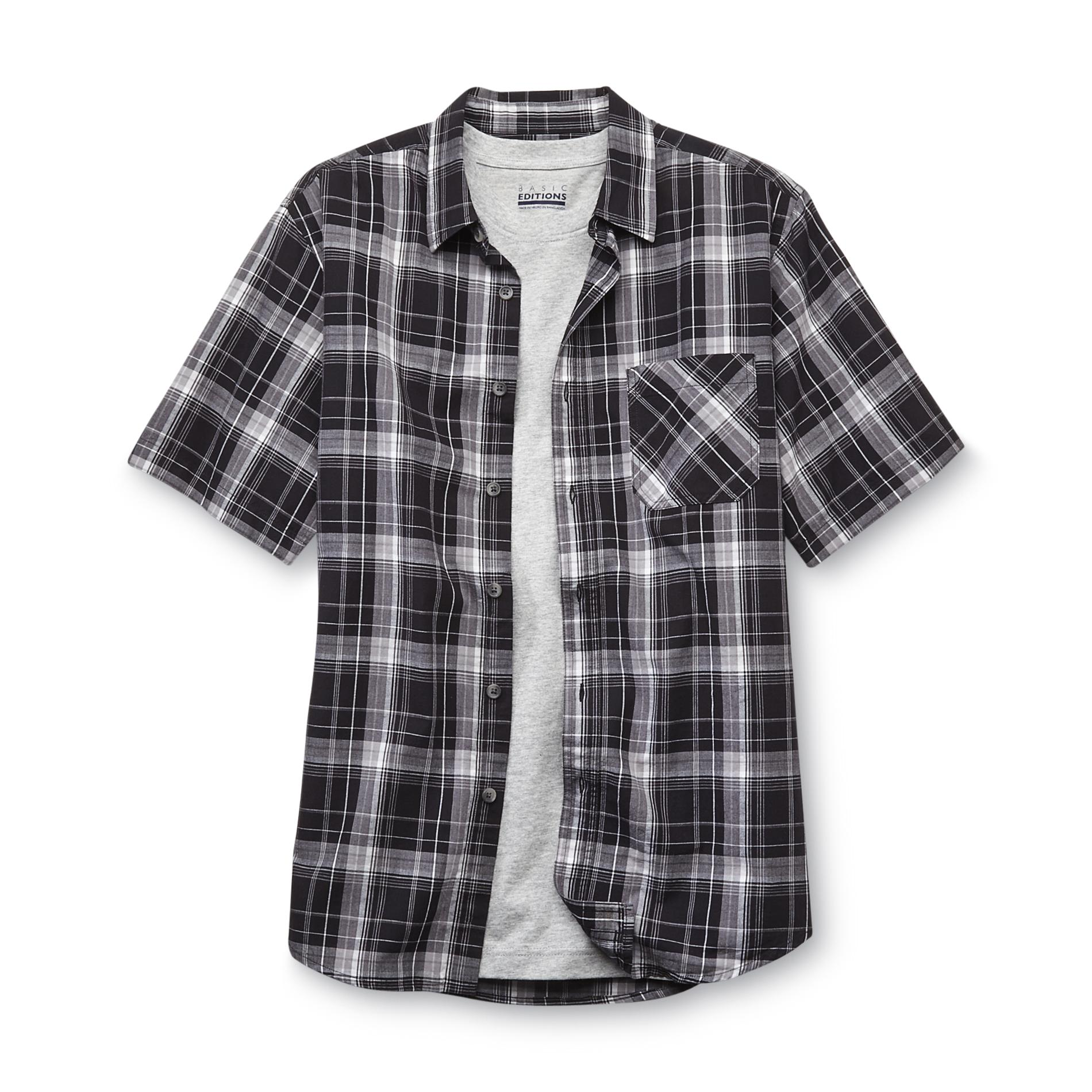 Basic Editions  Men's Button-Front Shirt