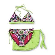 Joe Boxer Girl's Keyhole Bikini Top, Bottoms & Skirt - Neon Floral at Sears.com