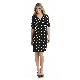 Connected Apparel Women's Draped Dress - Polka Dot at Sears.com