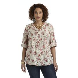 Basic Editions Women's Plus Pintuck Shirt - Floral at Kmart.com