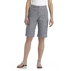 Basic Editions Women's Plus Twill Bermuda Shorts - Checked at Kmart.com