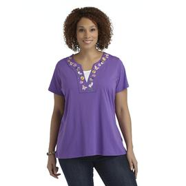 Basic Editions Women's Plus Layered-Look Top - Floral & Butterflies at Kmart.com