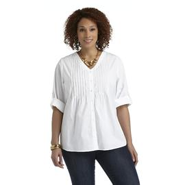 Basic Editions Women's Plus Pintuck Shirt at Kmart.com