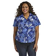 Erika Women's Plus Short-Sleeve Camp Shirt - Tie-Dye Floral at Sears.com
