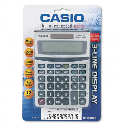 Casio DF-320TM Compact Desktop Calculator, 12-Digit LCD