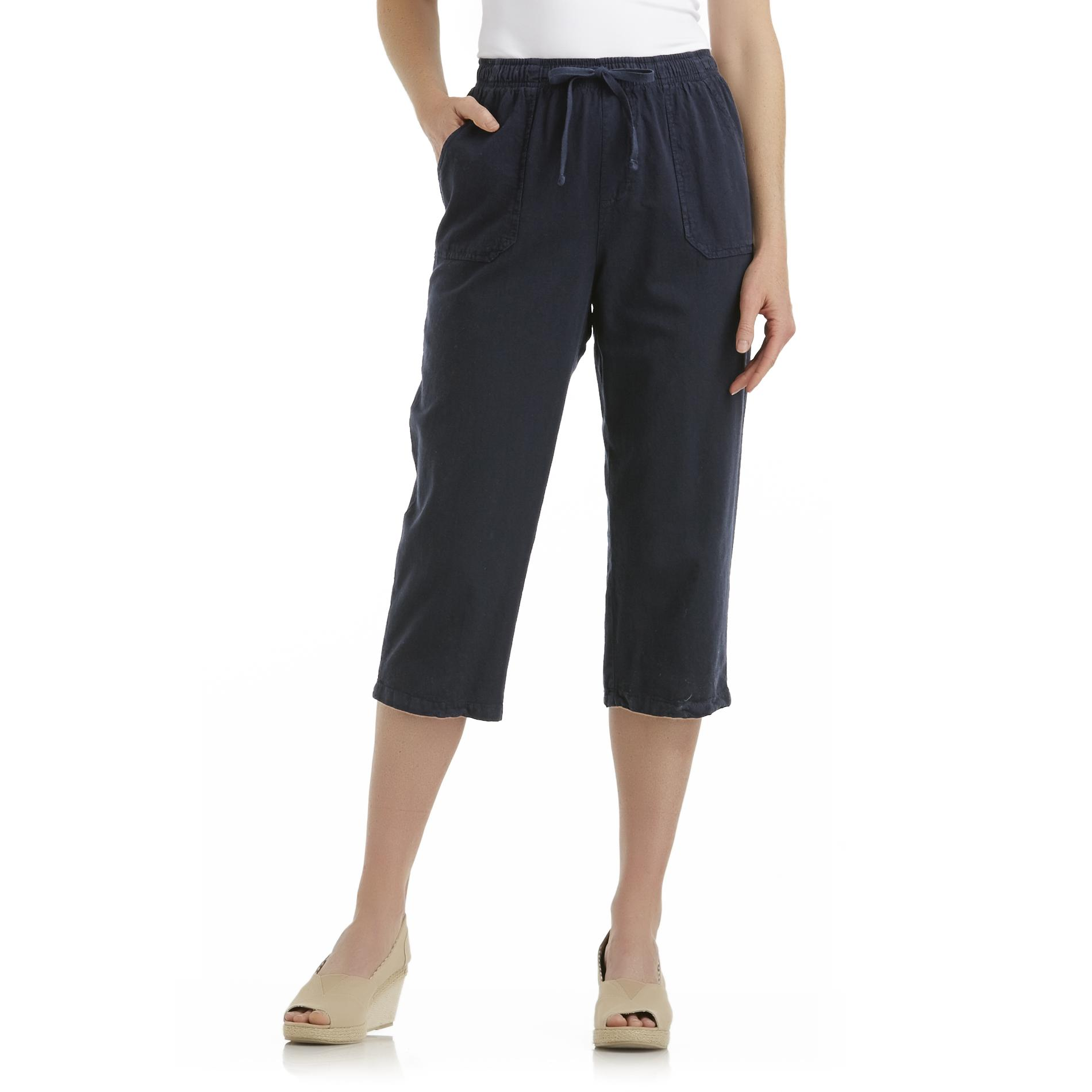 Basic Editions Women's Plus Cropped Crinkled Pants at Kmart.com