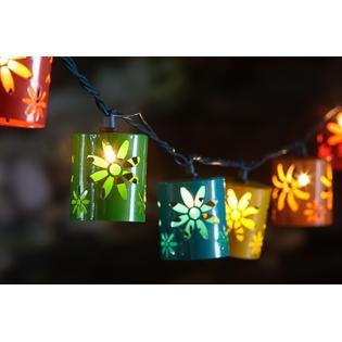 Essential Garden 10Ct. String Lights- Flower Metal Cylinders