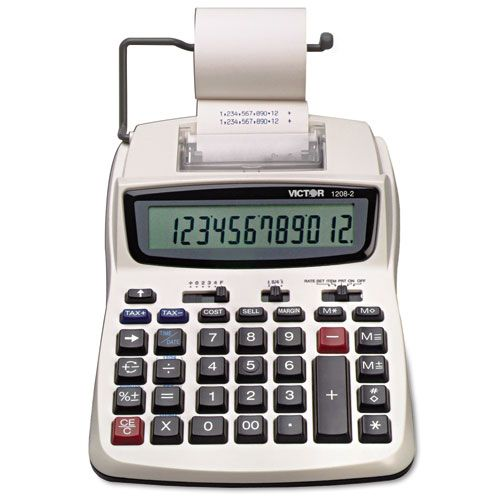Victor Equipment 1208-2 Two-Color Compact Printing Calculator Black/Red Print 2.3 Lines/Sec PartNumber: 00311089000P