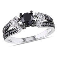 1 Cttw. Sterling Silver Black and White Diamond Engagement Ring (G-H, I2-I3) at Kmart.com