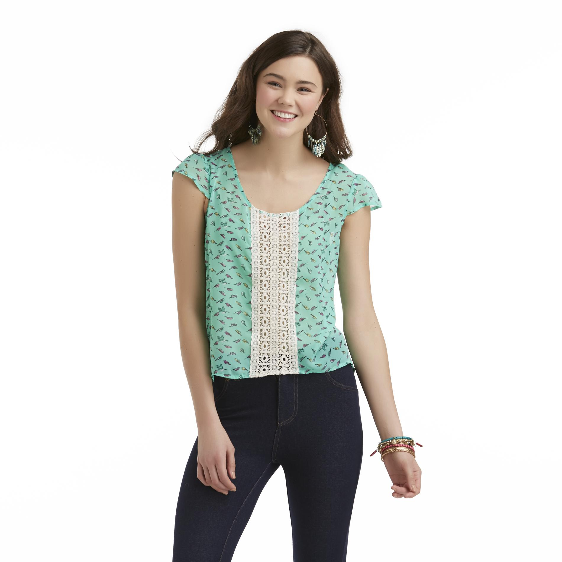 Bongo Junior's Chiffon Flutter-Sleeve Top - Birds at Sears.com