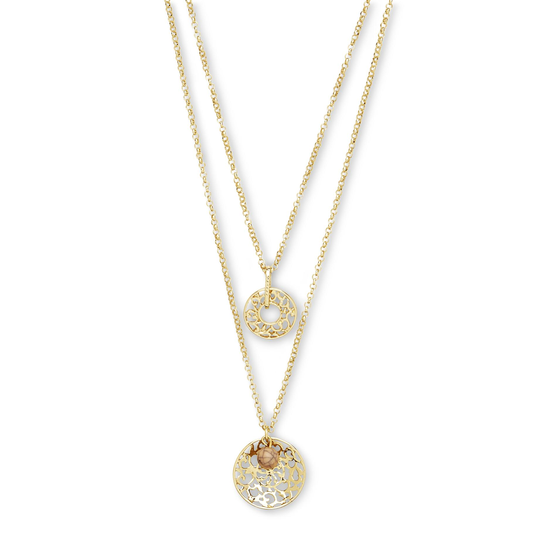 Junior's Silvertone Double Chain Pendant Necklace