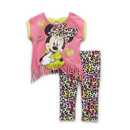 Disney Baby Minnie Mouse Toddler Girl's Fringed Top & Leggings - Leopard at Kmart.com