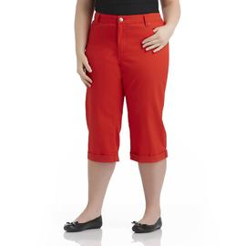 Basic Editions Women's Plus Cuffed Twill Capris at Kmart.com