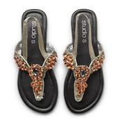 Studio S Women's Synthetic Leather Thong Sandals - Rhinestones at Sears.com