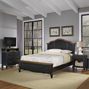 Home Styles Oak and Rubbed Black French Countryside Queen Bed, Night Stand, and Media Chest at Kmart.com