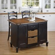 Home Styles Oak and Rubbed Black French Countryside Kitchen Island and Two Stools at Kmart.com