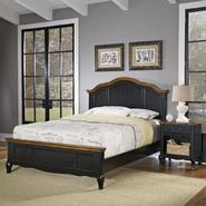 Home Styles Oak and Rubbed Black French Countryside Queen Bed and Night Stand at Kmart.com