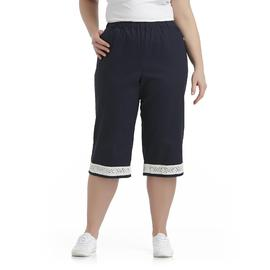 Chic Women's Plus Lace Trim Colored Stretch Capris at Kmart.com
