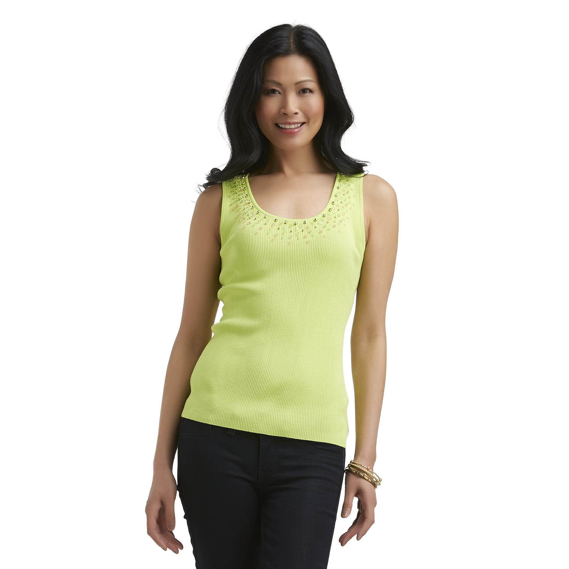 Sapphire Star Women's Rib Knit Sleeveless Top - Beaded at Sears.com