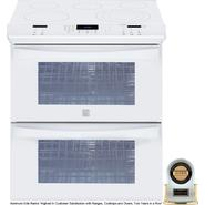 "Kenmore Elite 30"" Double-Oven Slide-In Electric Range w/Convection - White at Sears.com"