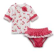 Small Wonders Newborn Girl's Rash Guard & Bikini Bottoms - Cherries & Polka Dots at Kmart.com