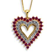 Gold over Brass Lab Created Ruby and Lab Created White Sapphire Heart Pendant at Sears.com