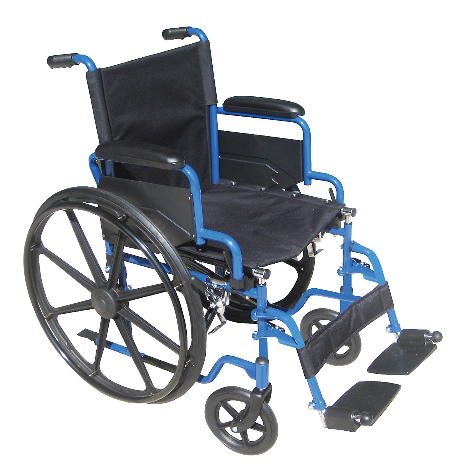 Drive Medical Blue Streak Wheelchair with Flip Back Desk Arms and Swing Away Footrest