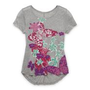 Canyon River Blues Girl's High-Low Studded Top - Floral & Butterfly at Sears.com